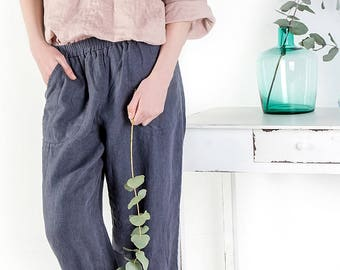 Washed women linen trousers / Linen trousers / Natural loose linen pants /  Slightly tapered linen pants / Linen trousers / Linen pants
