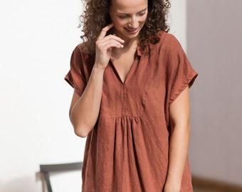 4aec0ee8f5758 Linen dress   V neck linen dress   Pure linen dress   Linen tunic   Washed  linen dress   Sleeveless linen tunic