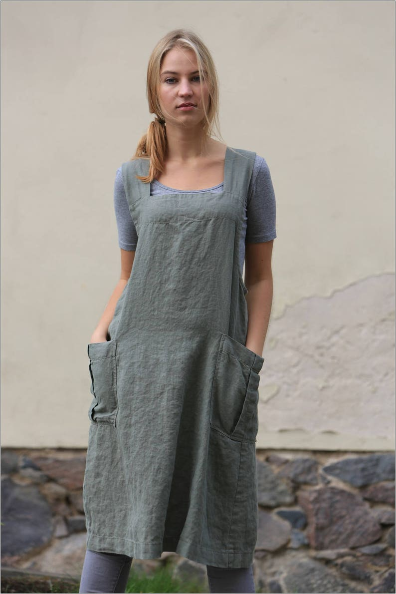 2e68b236dd9c8 Linen pinafore apron. Japanese cross back linen apron.