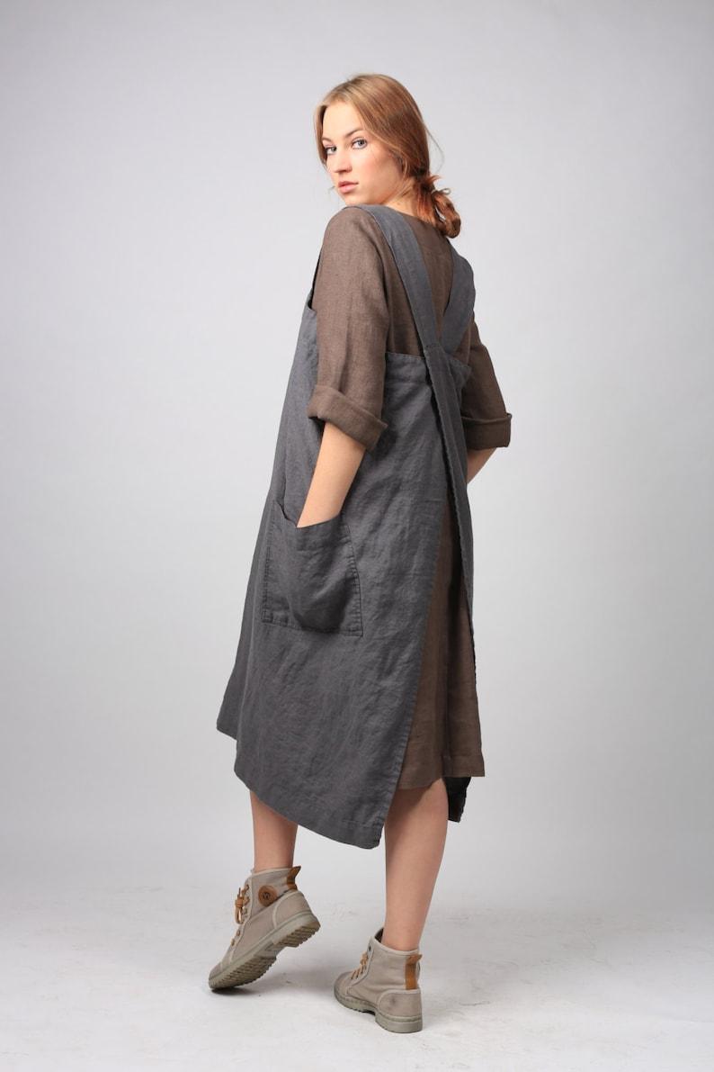 Linen Pinafore apron Square Cross Linen Apron Linen tunic image 0