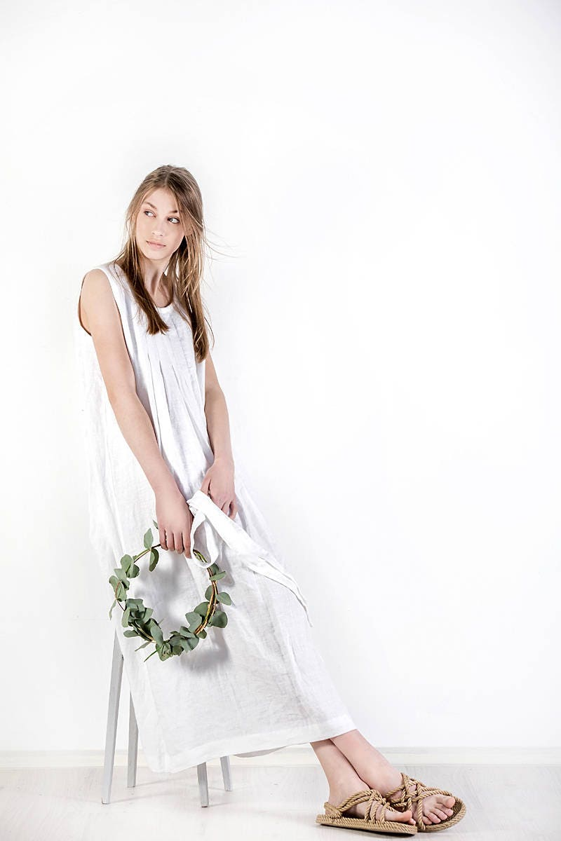 Linen Dress Natural Clothing Etsy Maxi Lovly Sqaa