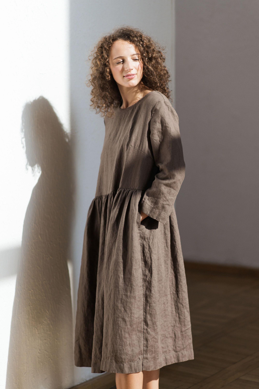 Linen Dress Sundress Pure Washed Etsy Maxi Lovly Sqaa Zoom
