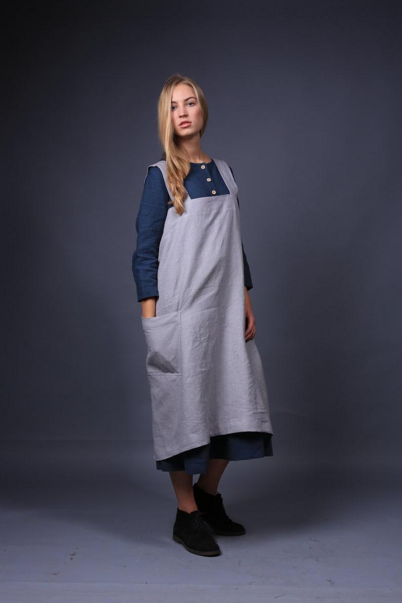 Linen apron  Linen pinafore  Square Cross Linen Apron  Japanese Apron  apron with pockets  oversized apron  linen tunic  linen top