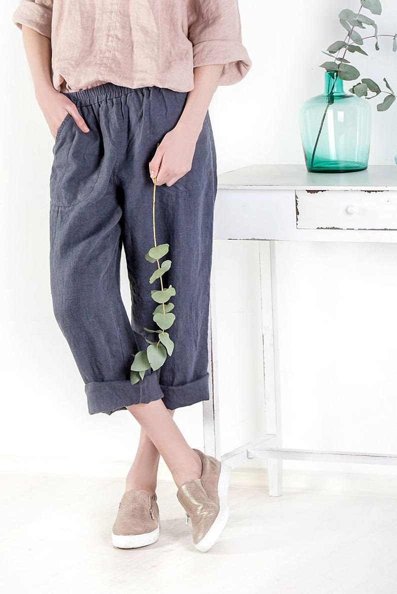 cd488e7f2aa Natural loose linen pants   Washed women linen trousers