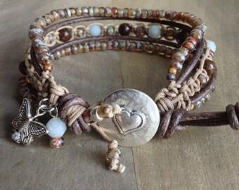 18 cm wrist, Bohemian bracelet boho chic bracelet gemstone bracelet macrame womens jewelry gift for her boho chic jewelry hippie bracelet