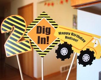 Construction Centerpieces, Under Construction, Birthday, Construction Birthday, Personalized
