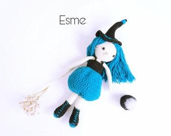 Witch Esme, Witch crochet pattern, Witch crochet pattern, Witch amigurumi pattern