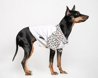 Summer safari - Dog shirt - Great for puppies, dogs and cats - Animal / Leopard print shirt / White