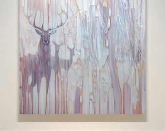 Spirit Guides print on canvas of a white painting with deer and stag