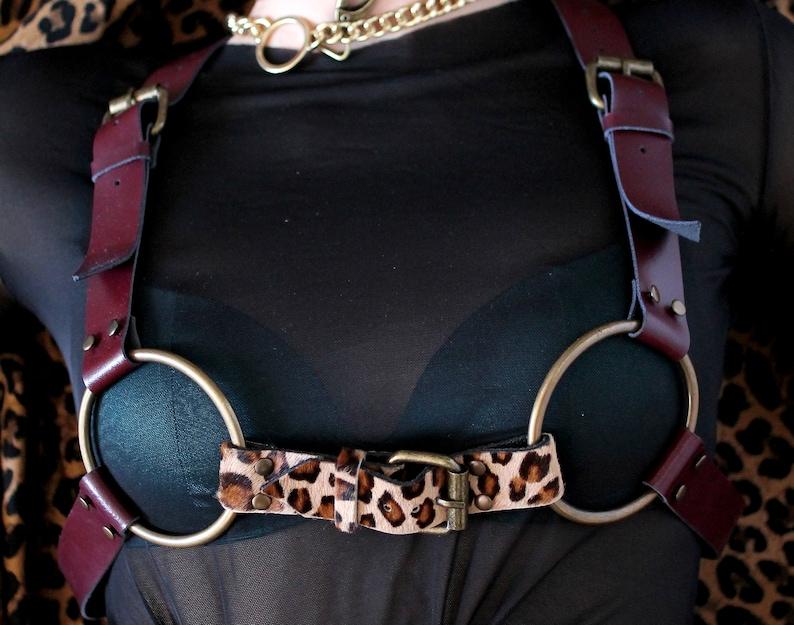 Leopard harness Bra harness Cage bra harness Bondage harness leopard print Leather body harness top Fetish harness Fashion harness chest