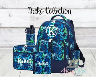 Light Blue and Green Gecko Backpack for Boys; Back to School; Check  out the Entire Collection and SAVE Monogrammed Navy