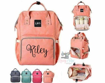 cfd72e6429f8 Monogrammed embroidered Diaper Bag backpack