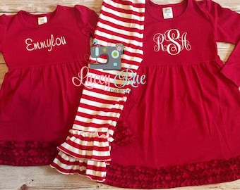toddler or little girl christmas dress or outfit valentines day dress monogrammed red ruffle dress - Toddler Girls Christmas Dress
