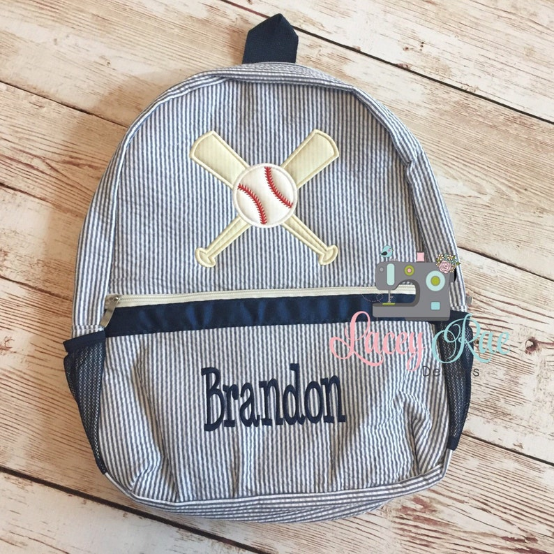 357a953c07 Baseball Seersucker Preschool Backpack res blue Toddler