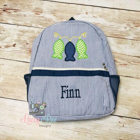 Monogrammed backpack Diaper Bag Fishing Seersucker Preschool Backpack boys seersucker Church Bag fish backpack Toddler backpack