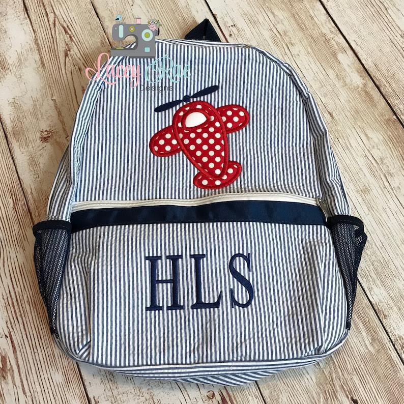 600c3d45ad Airplane Seersucker Preschool Backpack res blue Toddler