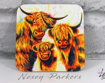 Highland Cow Coaster, Highland cow painting, highland cow family, drinks coaster, highland cow lover, highland theme, Scottish gift, cow