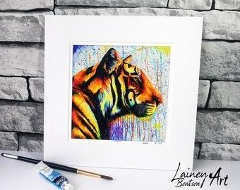 Tiger Print, Tiger , Tiger artwork, Tiger wall hanging