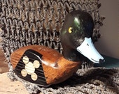 Hand carved and painted Greater Scaup duck head, carved to fit onto a vintage wooden golf club
