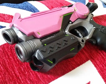 Still Fires! Overwatch Videogame Inspired Pink Cosplay / Collectible Nerf Pistol with raised front sights