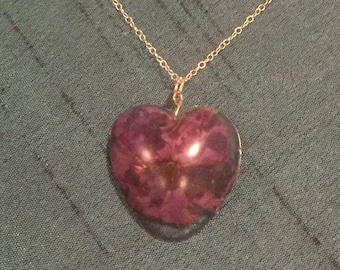 Purple Flower Heart Resin Necklace on Silver Chain