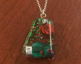 Holiday Pendant - Green and Red Christmas Light Resin Silver Necklace