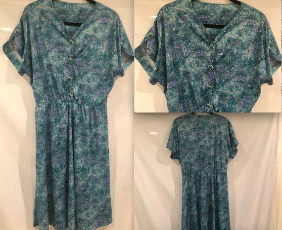 Vintage 80's Floral Dress Button Front Plus Size