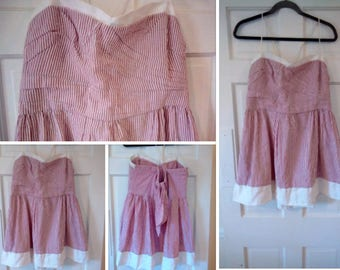 Handmade Red and White Candystripped Dress with White Lining- Sz 12/L