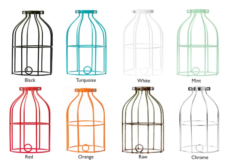 Mix /& Match Industrial Cage Lamp Choice of Cage and Cord Color Plug-In Lamp with In-Line Thumb Switch.