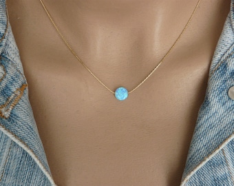 Blue opal necklace etsy aloadofball