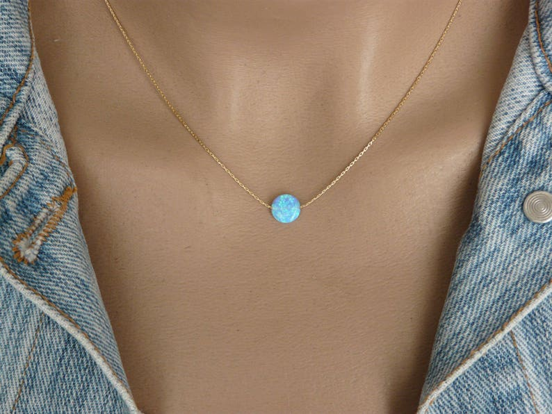 Opal coin necklace Opal necklace Delicate Opal necklace image 0