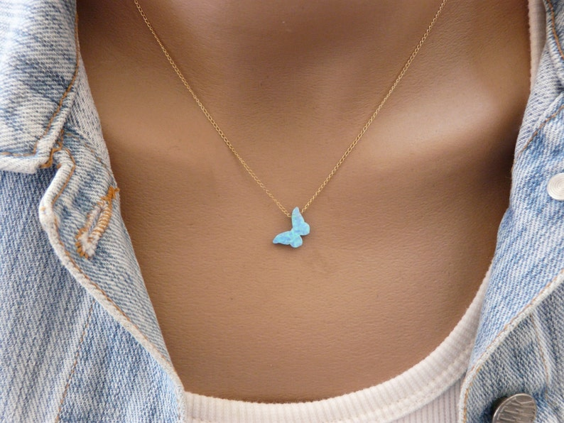 Butterfly necklace Opal butterfly necklace Butterfly image 1