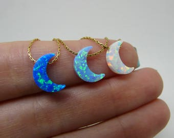 Opal moon necklace, Moon necklace, Crescent moon necklace, Crescent necklace, Moon pendant, Half moon, Opal jewellery