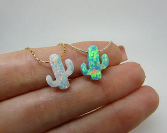 Cactus necklace, Opal cactus necklace, Cactus jewelry, Southwestern jewelry, Tree necklace, Green cactus, Boho necklace, Cactus pendant