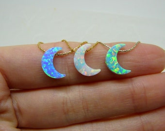 Moon necklace, Crescent moon necklace, Opal moon necklace, Crescent necklace, Moon pendant, Half moon, Opal jewellery