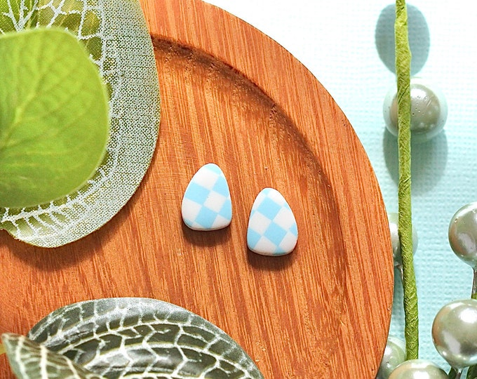 Blue and White Checks: Pebble Studs