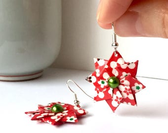 Origami Earrings // Christmas Origami // Japanese Paper // Red and Green // Christmas Stars // Poinsettia Earrngs // Gifts for Her