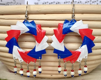 Independence Day Hoop Earrings // Red White and Blue Chandelier Earrings // Stars and Stripes // Origami Jewelry // Mother of Pearl
