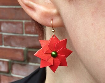 Poinsettia Earrings // Origami Jewelry // Christmas Earrings // Christmas Stars // Holiday Gifts for Her