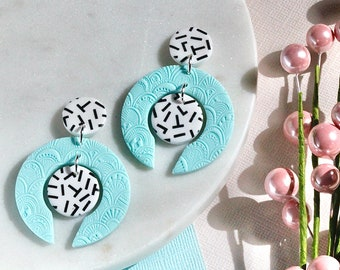 Mint Green Embossed Circle Earrings with Black and White Stud Top / Rockabilly Retro Statement Earrings / Polymer Clay