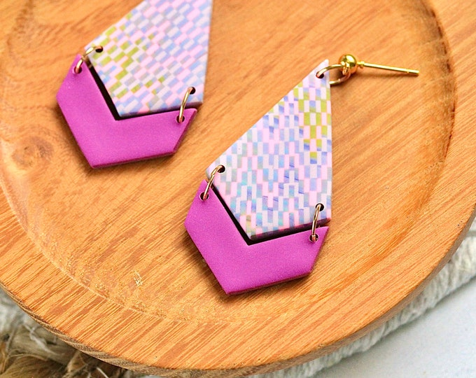 Mauve Tapestry Chevron Earrings with Ball Stud / Polymer Clay / Gift for Her