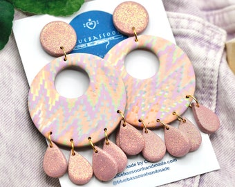 Pink Glitter Retro Go-Go Statement Earrings / Large Oversized Circles with Teardrop Dangles / Polymer Clay / Gift for Her