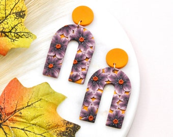 Fall Floral Arch Earrings / Warm Purple with Orange and Yellow / Polymer Clay / Gift for Gardener