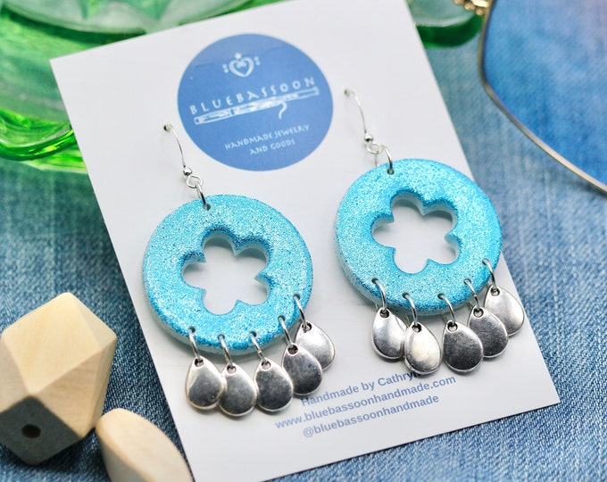 Blue Glitter Circle Earrings with Flower Cutout and Silver Teardrops / Polymer Clay / Handmade / Gift for Her