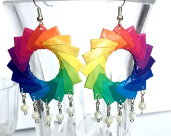 Chandelier Earrings // Origami Earrings // Rainbow Hoop Earrings // Origami Jewelry // Statement Jewelry // Mother of Pearl