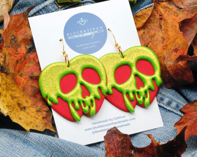 Poison Apple Earrings / Red and Green Statement Earrings with Glitter / Polymer Clay / Gift for Her