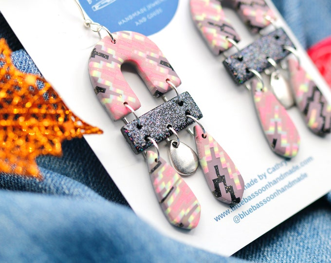 Pink and Black Glitter Statement Earrings / Trendy Long Dangle Earrings / Handmade from Polymer Clay / Gift for Her