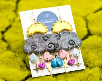 Big Emotions / Handmade Polymer Clay Cloud Earrings with Glitter and Charms / Gift for Her