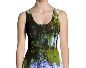 345ed6a312389 Dark Green Acid Wash Tie Dye Vintage Grunge All-Over Print Women s Tank Top