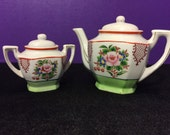 Porcelain Teapot and Sugar Bowl Set Made in Japan